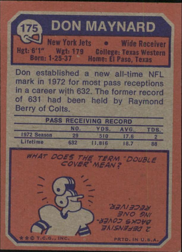 1973 Topps #175 Don Maynard back image