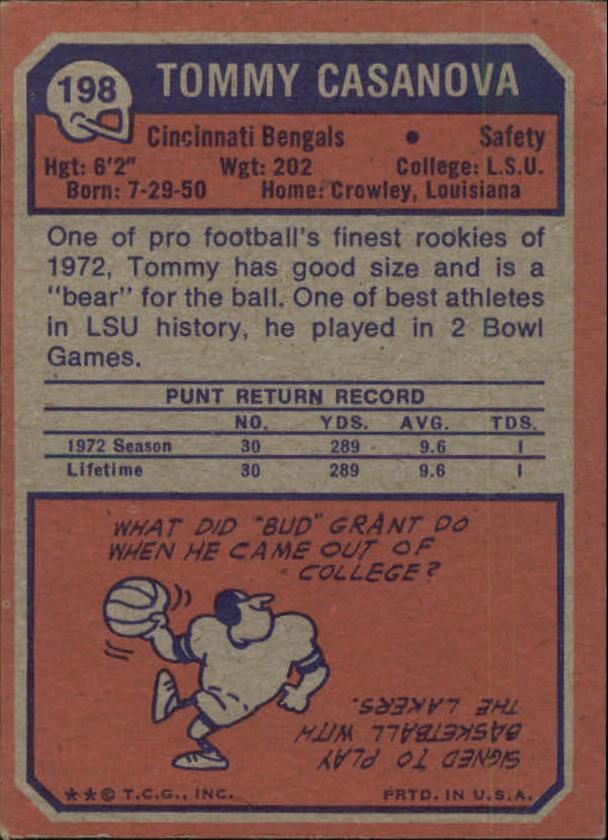 1973 Topps #198 Tommy Casanova RC back image