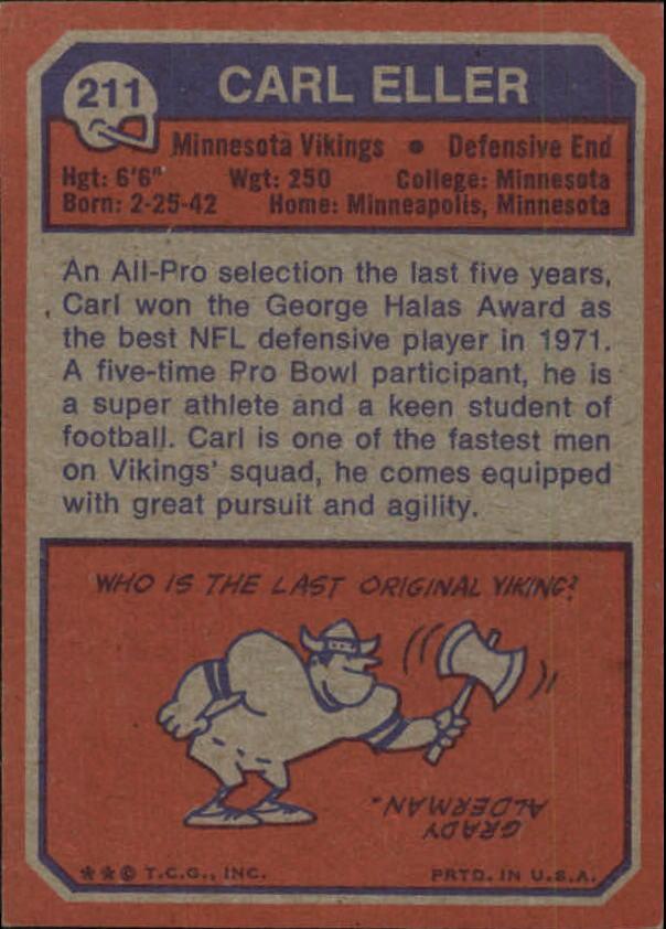 1973 Topps #211 Carl Eller back image