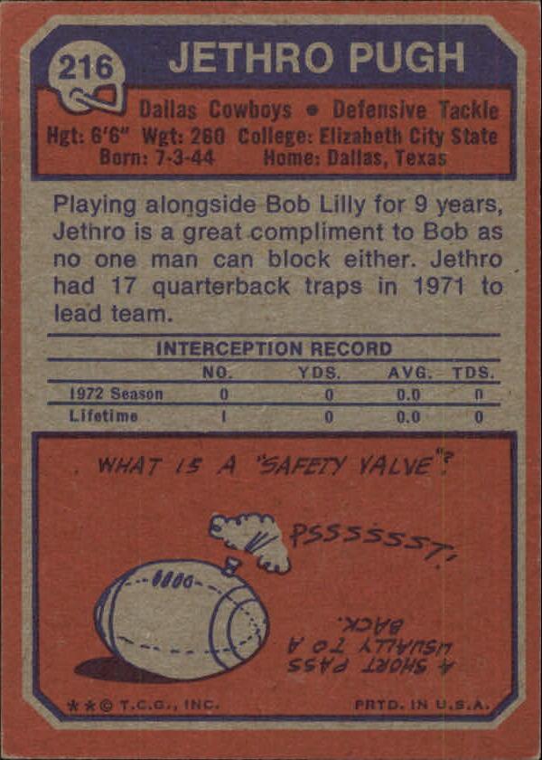1973 Topps #216 Jethro Pugh RC back image