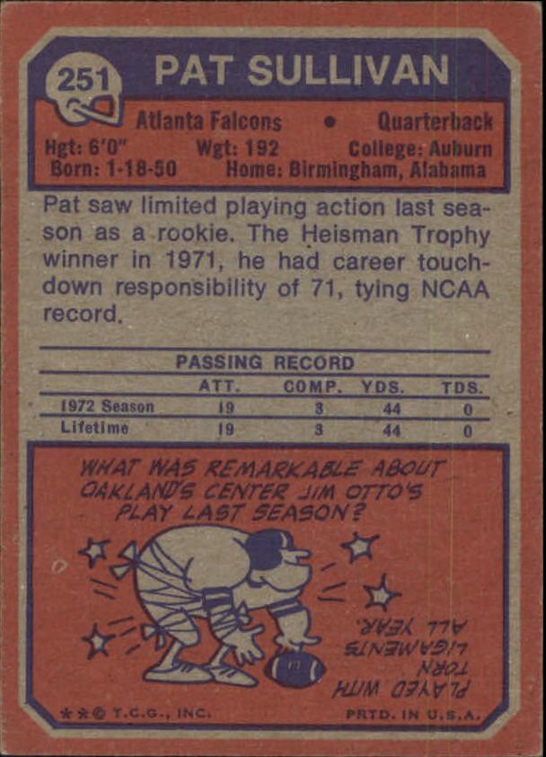 1973 Topps #251 Pat Sullivan RC back image