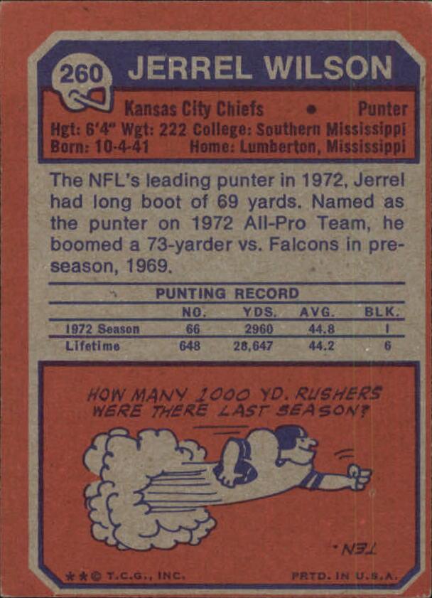 1973 Topps #260 Jerrel Wilson back image