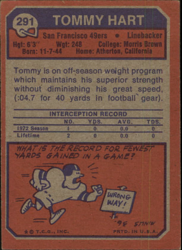 1973 Topps #291 Tommy Hart RC back image