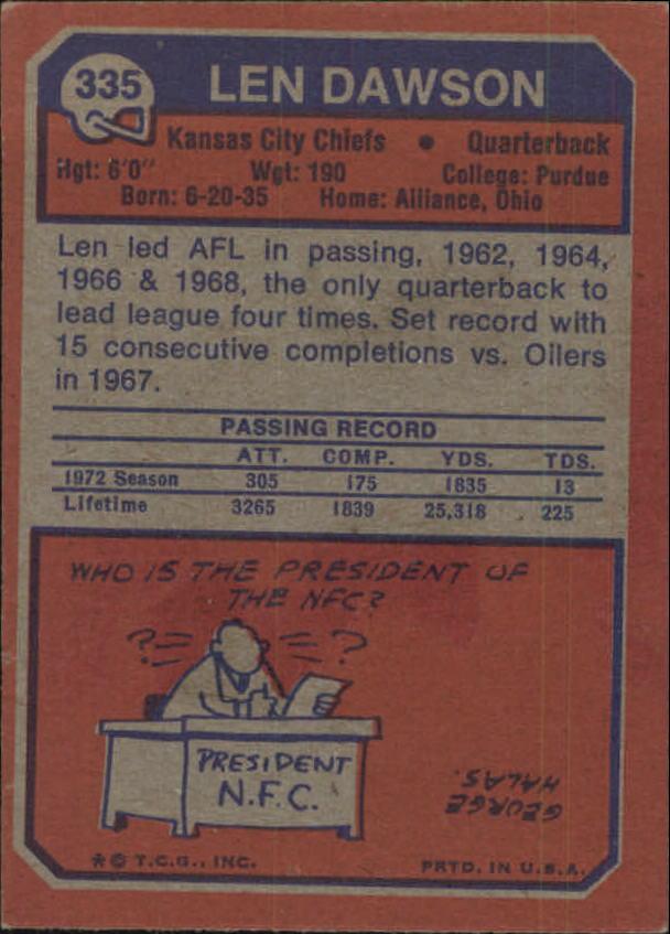 1973 Topps #335 Len Dawson back image