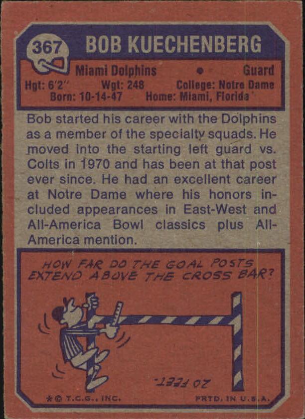 1973 Topps #367 Bob Kuechenberg RC back image