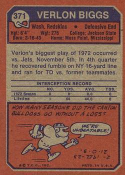 1973 Topps #371 Verlon Biggs back image