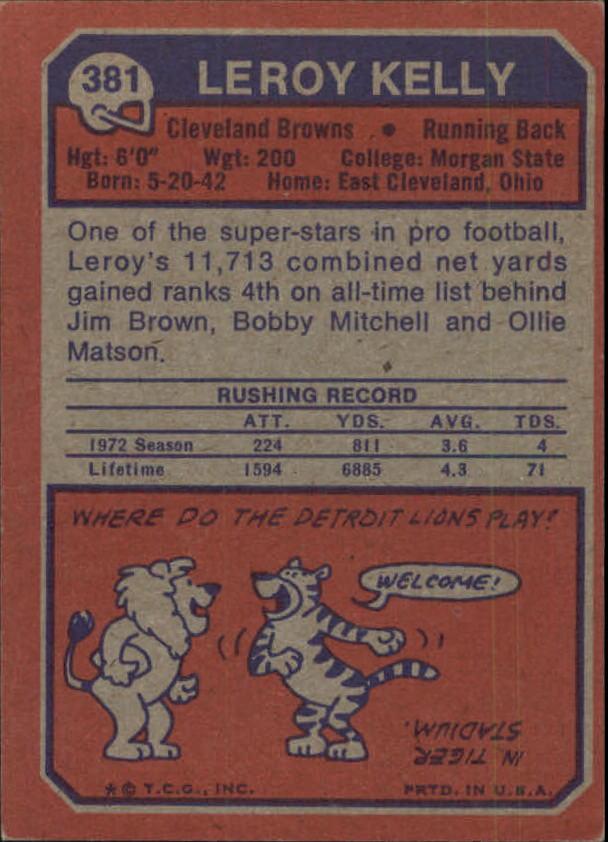 1973 Topps #381 Leroy Kelly back image