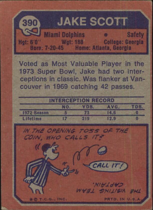 1973 Topps #390 Jake Scott back image