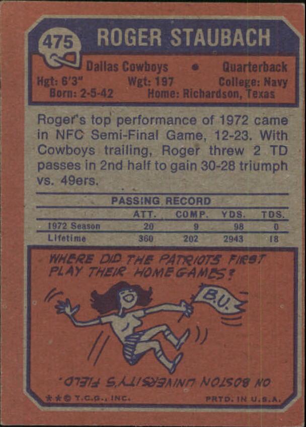 1973 Topps #475 Roger Staubach back image