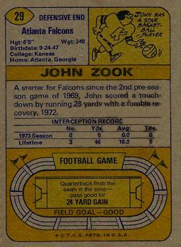 1974 Topps #29 John Zook back image