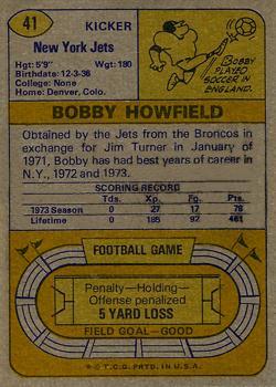 1974 Topps #41 Bobby Howfield back image