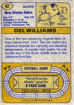 1974 Topps #42 Del Williams back image