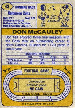 1974 Topps #43 Don McCauley back image