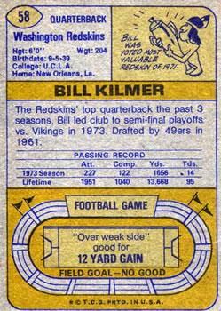 1974 Topps #58 Billy Kilmer back image