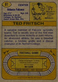 1974 Topps #81 Ted Fritsch Jr. back image