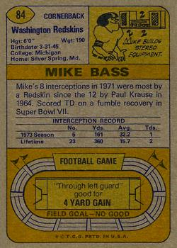 1974 Topps #84 Mike Bass back image