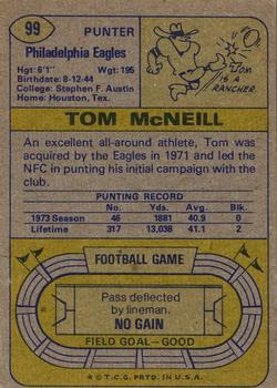 1974 Topps #99 Tom McNeill back image