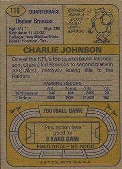 1974 Topps #116 Charley Johnson/(Horizontal pose) back image