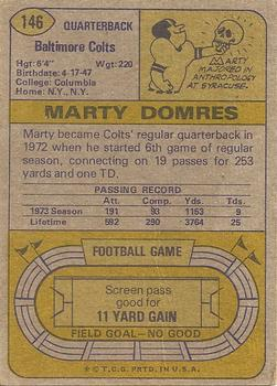 1974 Topps #146 Marty Domres back image