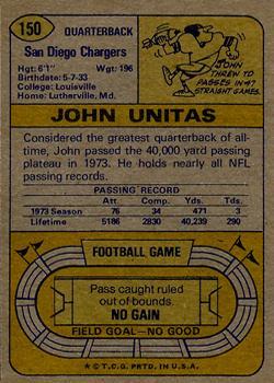 1974 Topps #150 Johnny Unitas back image