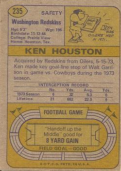 1974 Topps #235 Ken Houston back image