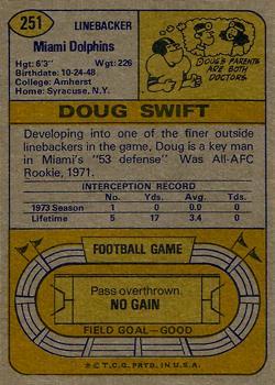 1974 Topps #251 Doug Swift back image