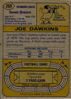1974 Topps #269 Joe Dawkins back image