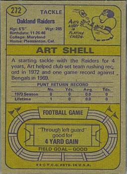 1974 Topps #272 Art Shell back image