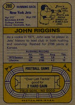 1974 Topps #280 John Riggins back image