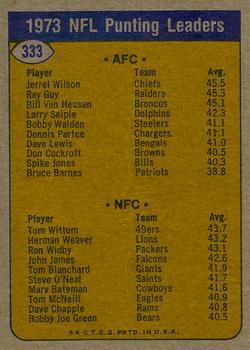 1974 Topps #333 Punting Leaders/Jerrel Wilson/Tom Wittum back image