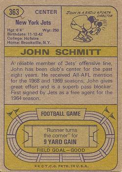 1974 Topps #363 John Schmitt back image