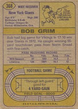1974 Topps #368 Bob Grim back image