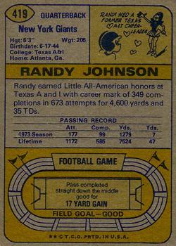 1974 Topps #419 Randy Johnson back image