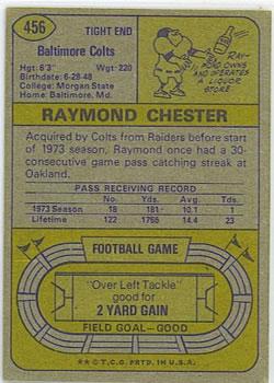 1974 Topps #456 Raymond Chester back image