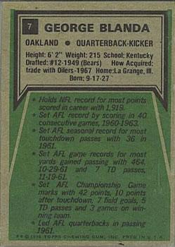 1975 Topps #7 George Blanda/(Black jersey;/highlights on back) back image