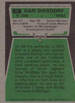 1975 Topps #35 Dan Dierdorf back image