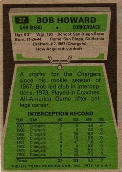 1975 Topps #37 Bob Howard back image