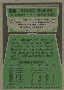1975 Topps #39 Rocky Bleier RC back image
