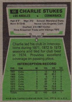 1975 Topps #66 Charlie Stukes back image