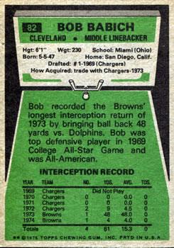 1975 Topps #82 Bob Babich back image