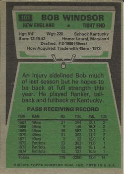 1975 Topps #101 Bob Windsor back image