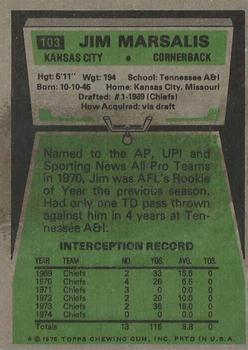 1975 Topps #103 Jim Marsalis back image