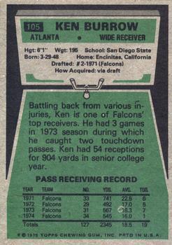 1975 Topps #105 Ken Burrow back image
