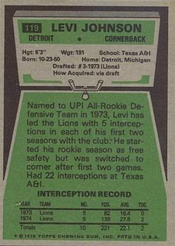 1975 Topps #119 Levi Johnson back image