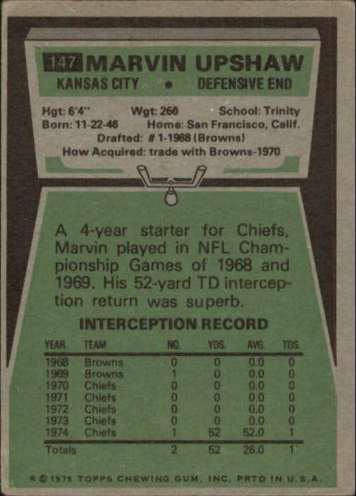 1975 Topps #147 Marvin Upshaw back image