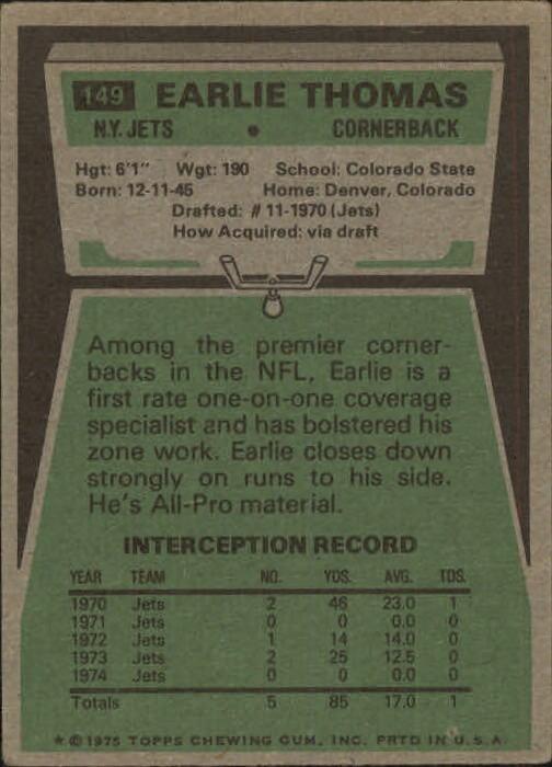 1975 Topps #149 Earlie Thomas back image