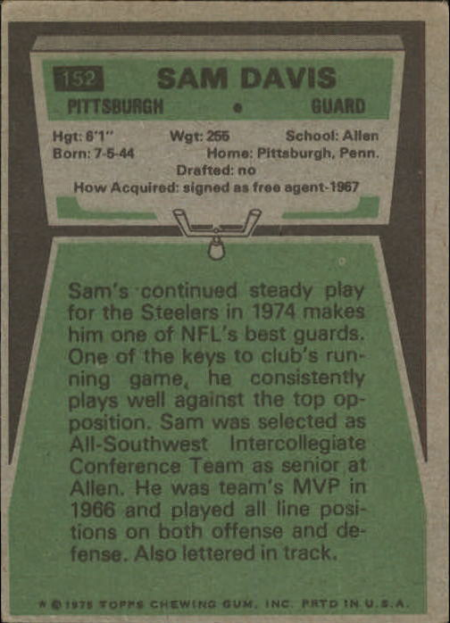 1975 Topps #152 Sam Davis RC back image