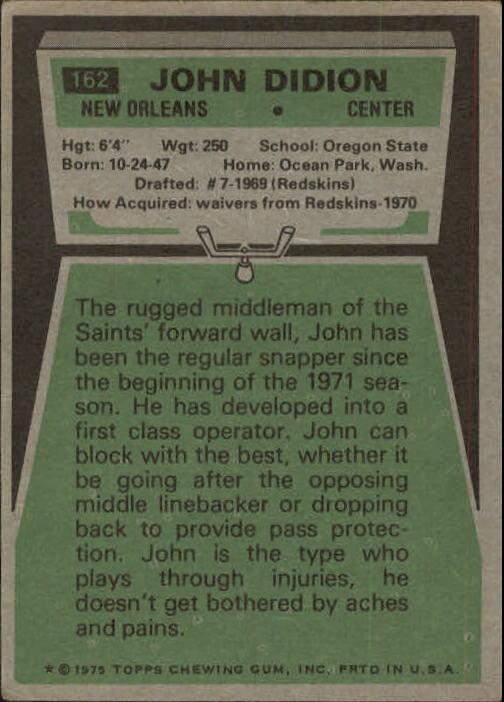 1975 Topps #162 John Didion back image