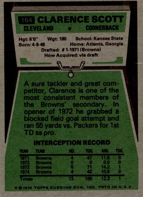 1975 Topps #164 Clarence Scott back image
