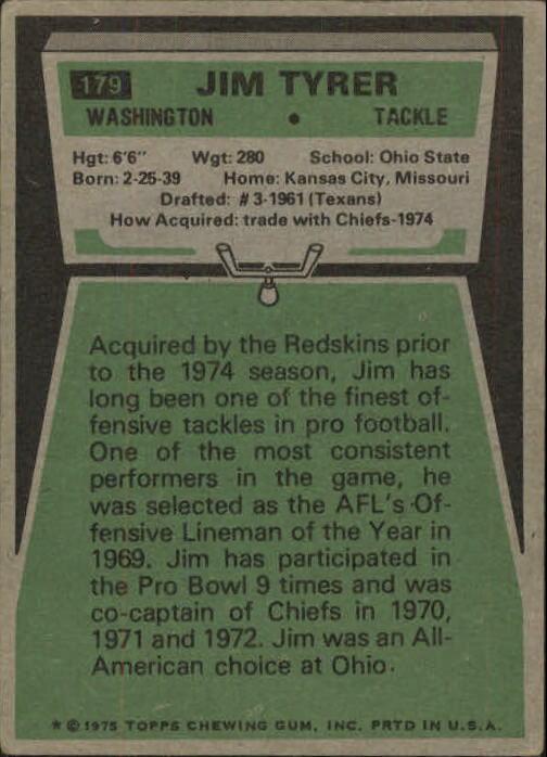 1975 Topps #179 Jim Tyrer back image